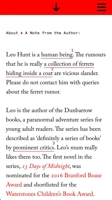 mobile view of leohunt.com